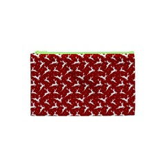 Red Reindeers Cosmetic Bag (xs) by patternstudio