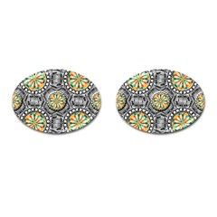 Beveled Geometric Pattern Cufflinks (oval) by linceazul