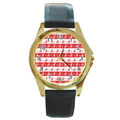 Knitted Red White Reindeers Round Gold Metal Watch by patternstudio