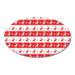 Knitted Red White Reindeers Oval Magnet by patternstudio