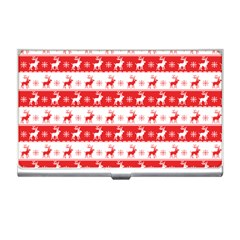 Knitted Red White Reindeers Business Card Holders by patternstudio