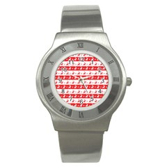 Knitted Red White Reindeers Stainless Steel Watch by patternstudio