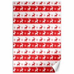 Knitted Red White Reindeers Canvas 24  X 36  by patternstudio