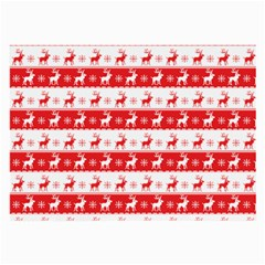 Knitted Red White Reindeers Large Glasses Cloth (2 Side) by patternstudio