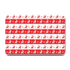 Knitted Red White Reindeers Small Doormat  by patternstudio