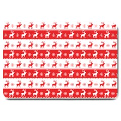 Knitted Red White Reindeers Large Doormat  by patternstudio