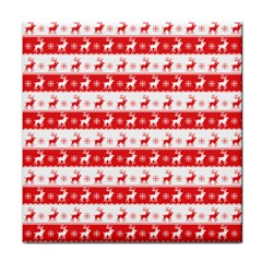 Knitted Red White Reindeers Face Towel by patternstudio