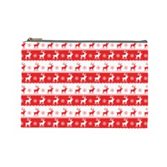 Knitted Red White Reindeers Cosmetic Bag (large)  by patternstudio