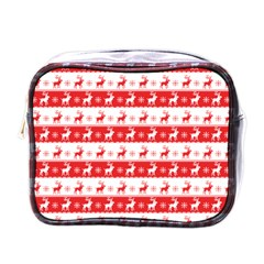 Knitted Red White Reindeers Mini Toiletries Bags by patternstudio