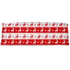 Knitted Red White Reindeers Body Pillow Case (dakimakura) by patternstudio