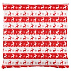 Knitted Red White Reindeers Large Cushion Case (two Sides) by patternstudio
