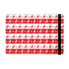 Knitted Red White Reindeers Apple Ipad Mini Flip Case by patternstudio