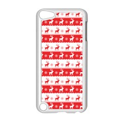 Knitted Red White Reindeers Apple Ipod Touch 5 Case (white) by patternstudio