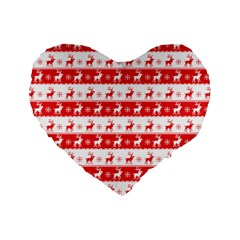 Knitted Red White Reindeers Standard 16  Premium Heart Shape Cushions by patternstudio