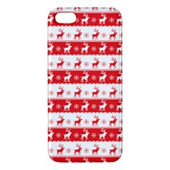 Knitted Red White Reindeers Apple Iphone 5 Premium Hardshell Case by patternstudio
