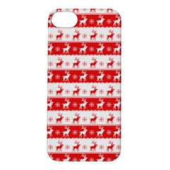 Knitted Red White Reindeers Apple Iphone 5s/ Se Hardshell Case by patternstudio