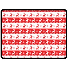 Knitted Red White Reindeers Double Sided Fleece Blanket (large)  by patternstudio