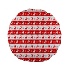 Knitted Red White Reindeers Standard 15  Premium Flano Round Cushions by patternstudio