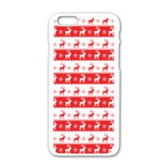 Knitted Red White Reindeers Apple Iphone 6/6s White Enamel Case by patternstudio