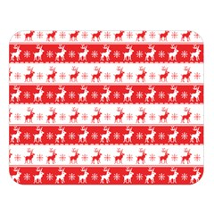 Knitted Red White Reindeers Double Sided Flano Blanket (large)  by patternstudio