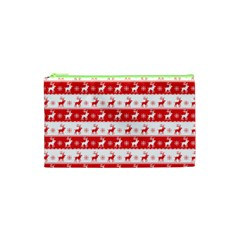Knitted Red White Reindeers Cosmetic Bag (xs) by patternstudio