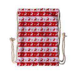 Knitted Red White Reindeers Drawstring Bag (small) by patternstudio