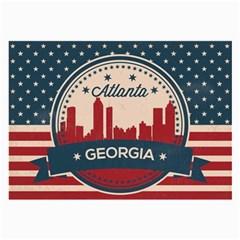 Retro Atlanta Georgia Skyline Large Glasses Cloth (2 Side) by allthingseveryday