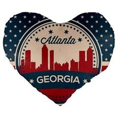 Retro Atlanta Georgia Skyline Large 19  Premium Heart Shape Cushions by allthingseveryday