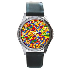 Homouflage Gay Stealth Camouflage Round Metal Watch by PodArtist