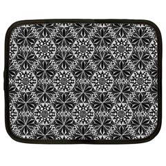 Crystals Pattern Black White Netbook Case (large) by Cveti