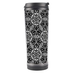 Crystals Pattern Black White Travel Tumbler by Cveti