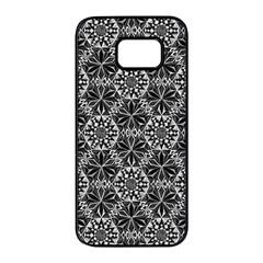 Crystals Pattern Black White Samsung Galaxy S7 Edge Black Seamless Case by Cveti