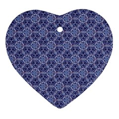Crystals Pattern Blue Ornament (heart) by Cveti