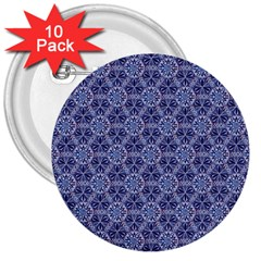 Crystals Pattern Blue 3  Buttons (10 Pack)  by Cveti
