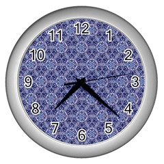 Crystals Pattern Blue Wall Clocks (silver)  by Cveti