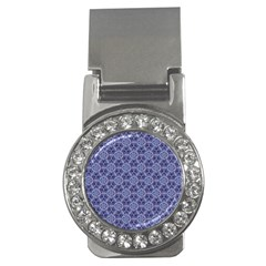 Crystals Pattern Blue Money Clips (cz)  by Cveti