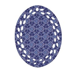 Crystals Pattern Blue Ornament (oval Filigree) by Cveti