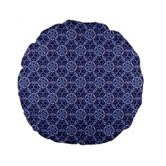 Crystals Pattern Blue Standard 15  Premium Flano Round Cushions by Cveti