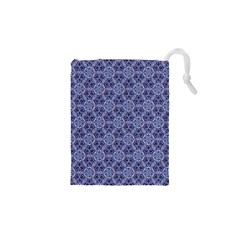 Crystals Pattern Blue Drawstring Pouches (xs)  by Cveti