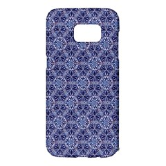 Crystals Pattern Blue Samsung Galaxy S7 Edge Hardshell Case by Cveti