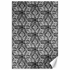 Kaleidoscope Black White Pattern Canvas 12  X 18   by Cveti