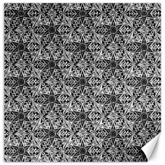 Kaleidoscope Black White Pattern Canvas 16  X 16   by Cveti