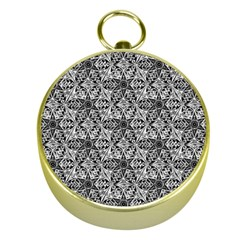 Kaleidoscope Black White Pattern Gold Compasses by Cveti