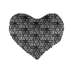 Kaleidoscope Black White Pattern Standard 16  Premium Flano Heart Shape Cushions by Cveti