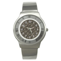 Animal Print Camo Pattern Stainless Steel Watch by dflcprints