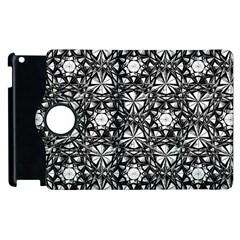 Star Crystal Black White Pattern Apple Ipad 2 Flip 360 Case by Cveti