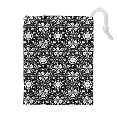 Star Crystal Black White Pattern Drawstring Pouches (extra Large) by Cveti