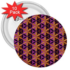 Flower Of Life Purple Gold 3  Buttons (10 Pack)  by Cveti