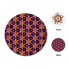 Flower Of Life Purple Gold Playing Cards (round)  by Cveti