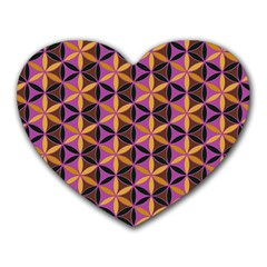 Flower Of Life Purple Gold Heart Mousepads by Cveti